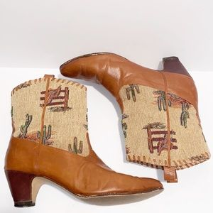 Vintage Beverly Feldman Southwestern cactus boots